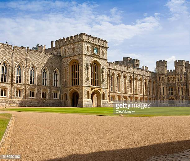windsor castle with blue sky and clouds, berkshire, england, uk. - windsor england stock photos and pictures
