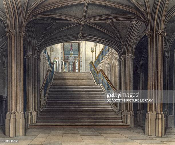 Windsor Castle's grand staircase engraving by W J Bennet on a Bill C Wild's drawing taken from History Of Royal Residences of Windsor Castle St...