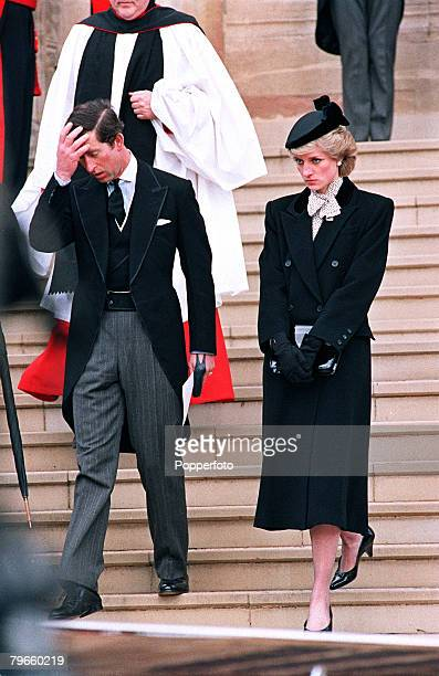 Windsor England 29th April 1986 The Prince and Princess of Wales leave St Georges Chapel after the funeral of the Duchess of Windsor