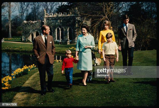 Windsor, England: , An informal group of the Royal Family in the grounds of Windsor Castle. H.R.H. The Prince Philip, ; H.R.H. The Prince Edward;...