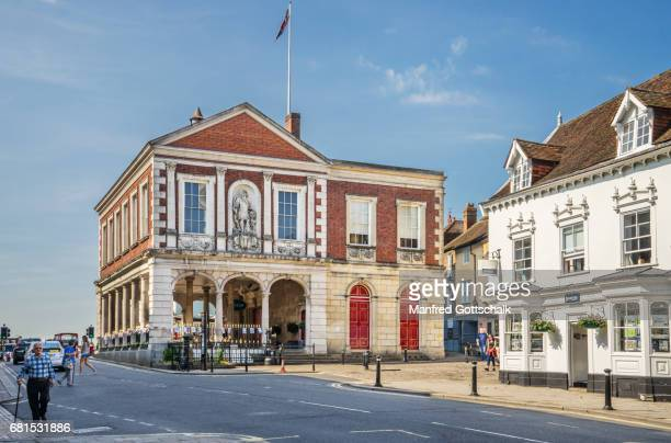 windsor guildhall from high street - windsor england stock pictures, royalty-free photos & images