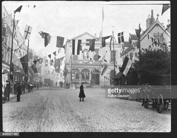 Windsor High Street England decorated in honour of the German Kaiser's visit to the city in 1907