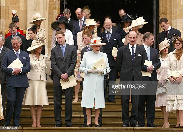 Queen Elizabeth II and the Royal family leave St George's Chapel at Windsor Castle 23 April 2006 following a special service of thanksgiving marking...
