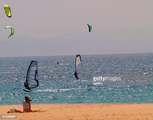 windsurf in tarifa beach. cadiz - tarifa stock pictures, royalty-free photos & images
