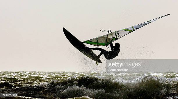 A windsurfer flies through the air during the Wave/freewave UK Finals Championships at the White Air Extreme Sports Festival on October 28 2005 in...