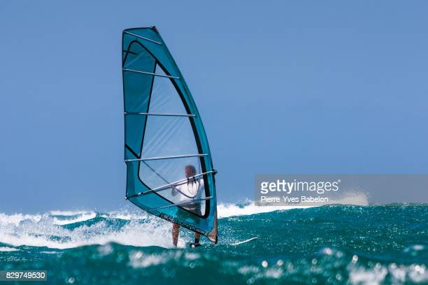 windsurfer in transparency - pierre yves babelon stock pictures, royalty-free photos & images