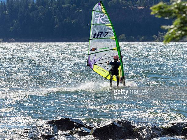 windsurfer on columbia river in washington state - columbia river gorge stock pictures, royalty-free photos & images