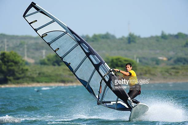windsurfer racing - windsurfing stock pictures, royalty-free photos & images