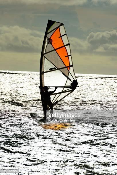 Windsurfers in One Eye Bay, Le Morne, Le Morne Brabant Peninsula, Indian Ocean, Mauritius