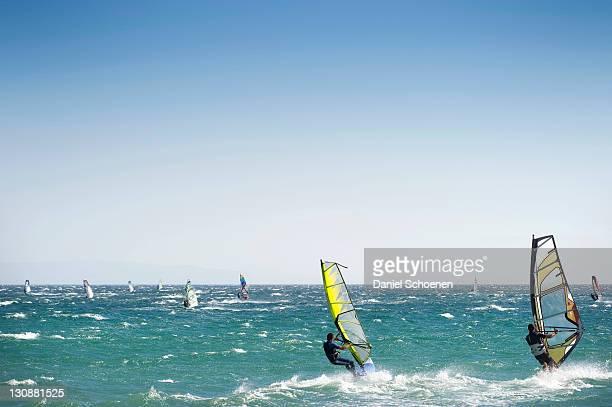windsurfers in tarifa, costa de la luz, andalucia, spain, europe - tarifa stock photos and pictures