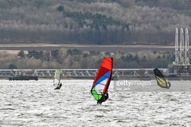 Windsurfers on the Firth of Forth as the Scottish Government eases restrictions on outdoor exercise, sport, recreation, and socialising, on March 13,...