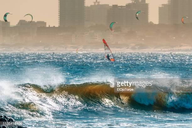 windsurfing in punta del este, maldonado department, uruguay - maldonado uruguay stock pictures, royalty-free photos & images