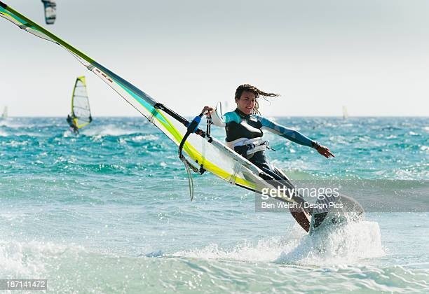 windsurfing off punta paloma - windsurfing stock pictures, royalty-free photos & images