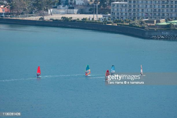 Windsurfing on Zushi Beach in Sagami Bay, Pacific Ocean in Kanagawa prefecture in Japan
