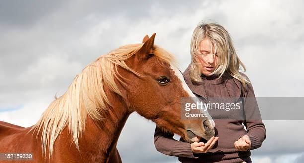 Windswept girl feeds pony from hand