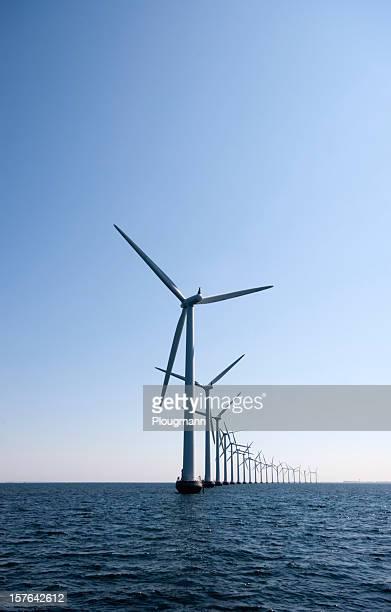 Windturbine in a row at the ocean outside Copenhagen