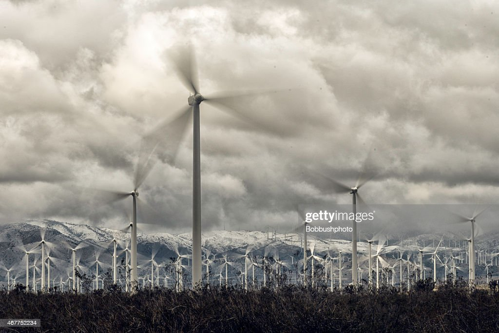 WindTurbines under stormy sky : Stock Photo