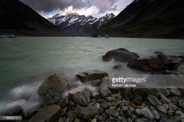 Windy day at Hooker glacier and mount cook, Hooker valley.
