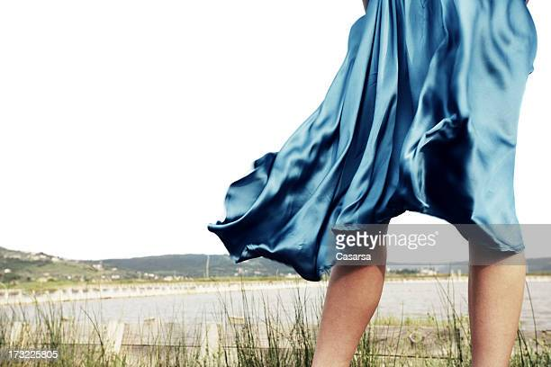windy day - skirt blowing stock photos and pictures