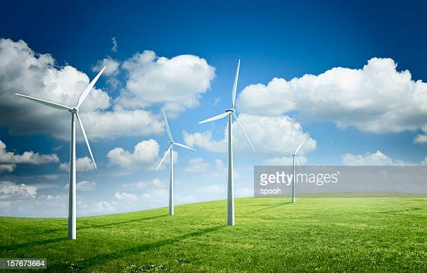 Windy field with wind turbines. Renewable energy illustration.