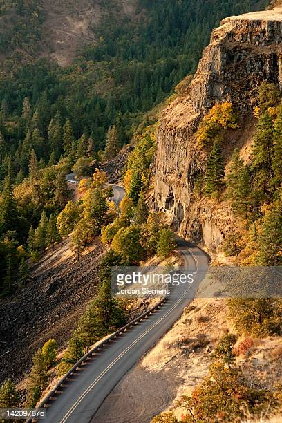 a windy road in oregon. - hood river stock pictures, royalty-free photos & images