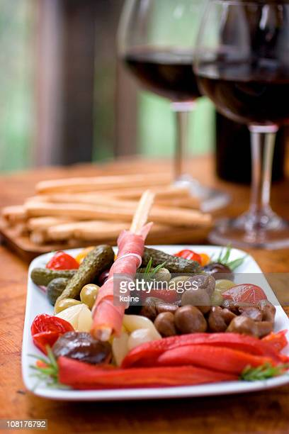wine and antipasto - kalamata olive stock photos and pictures