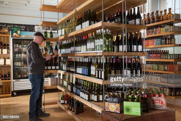 Wine and Beer at small grocery The Mill Market Hawley Pennsylvania USA