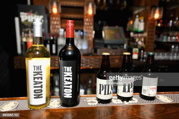 Wine and beer bottles are displayed at the after party for American Film Institute's 45th Life Achievement Award Gala Tribute to Diane Keaton at OHM...