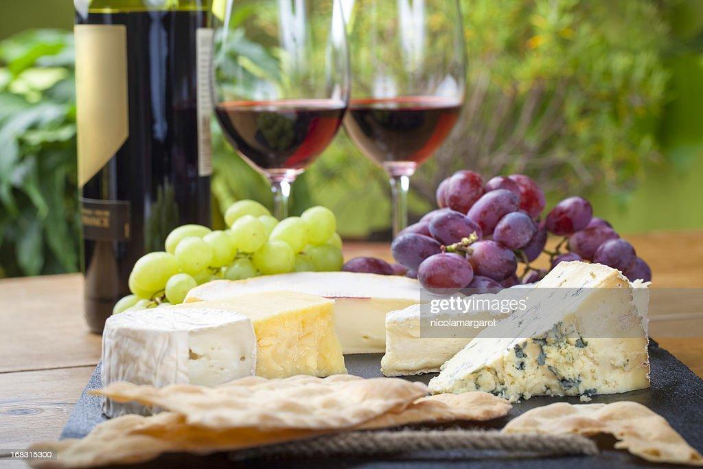 Wine and cheese platter : Stock Photo