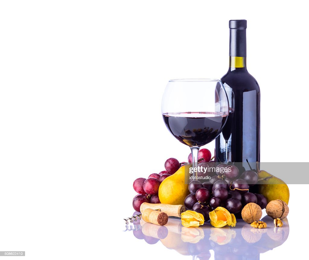 Wine and Fruits on White Background : Stock Photo