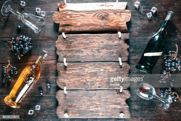 ワインとブドウのレトロなスタイルの背景