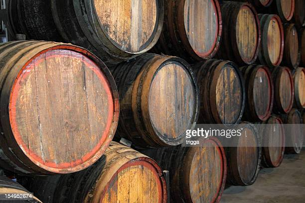 Wine barrels at the winery