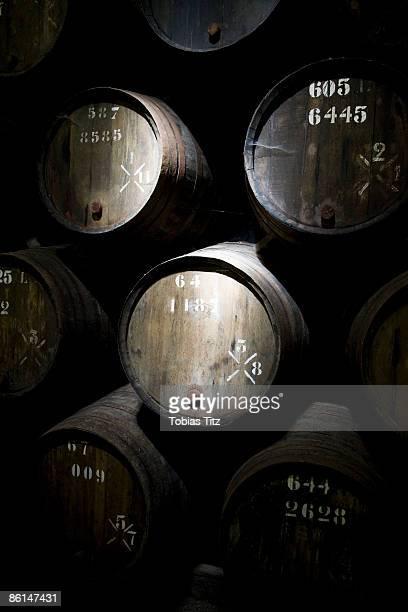 Wine barrels in a cellar