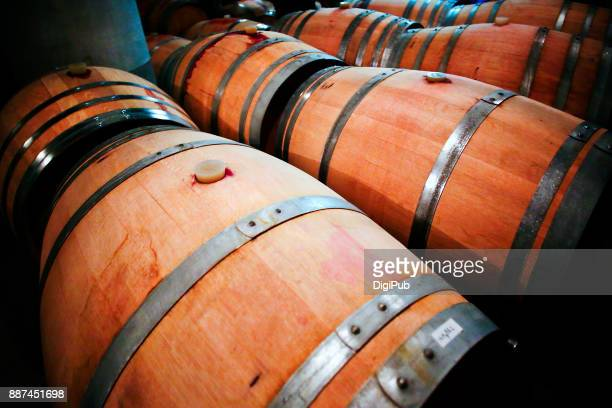 wine barrels in cellar - tokai region stock pictures, royalty-free photos & images