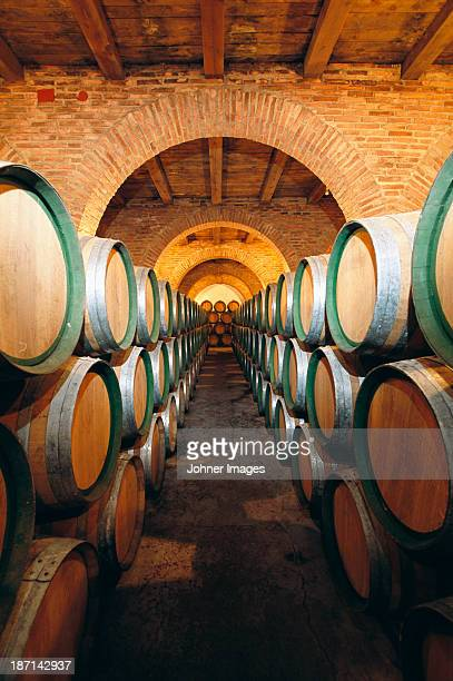 Wine barrels in cellar, Spain.