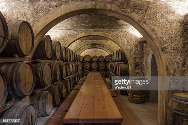 wine barrels in wine cellar - ワインセラー ストックフォトと画像