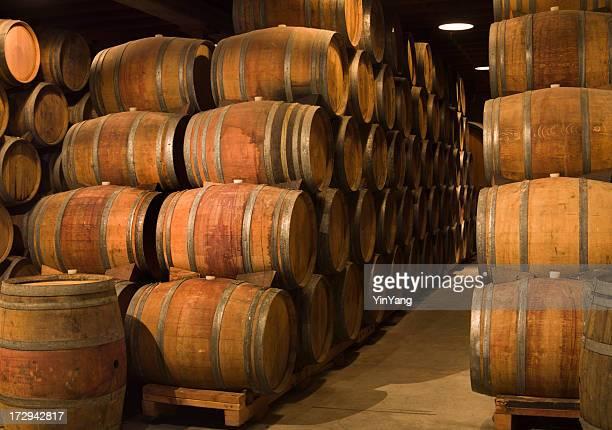 Wine Barrels in Winery Cellar of Napa Valley California