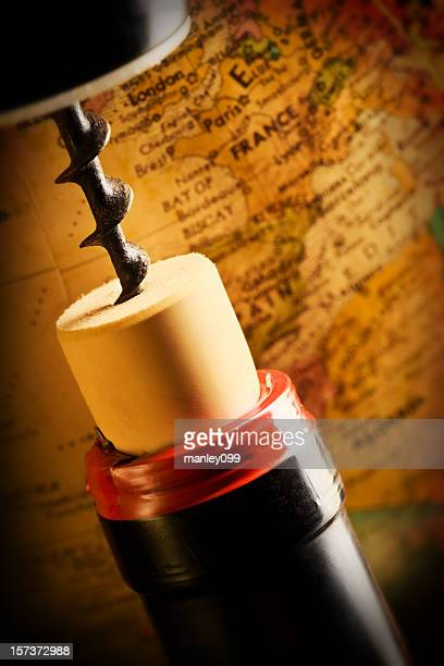 wine bottle and france map
