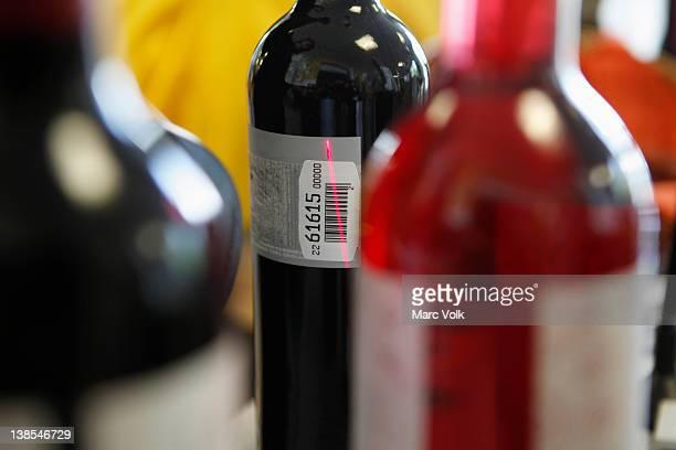 Wine bottle being scanned