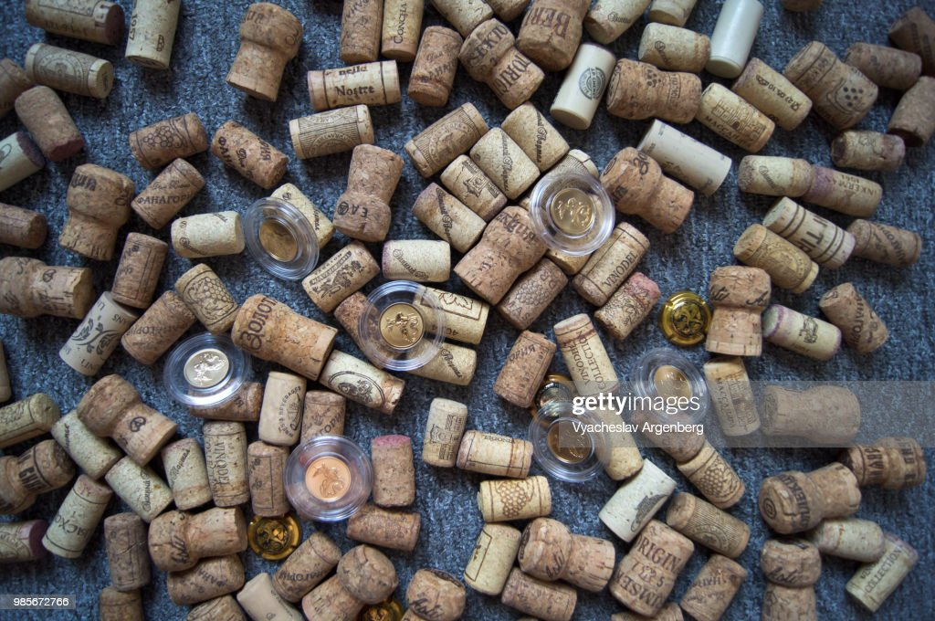 Wine bottle cork stoppers used for sealing wine bottles in big variety : Stock Photo