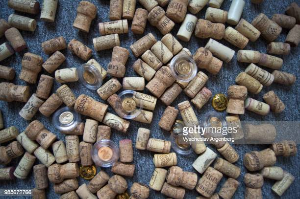 wine bottle cork stoppers used for sealing wine bottles in big variety - cork stopper stock photos and pictures