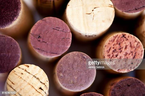 wine bottle corks - cork material stock photos and pictures