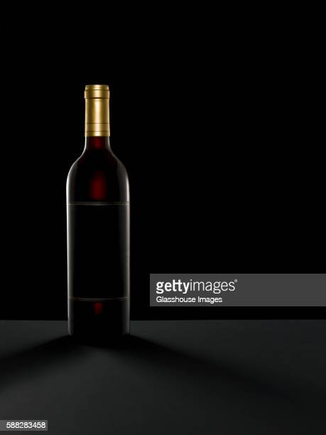 Wine Bottle on Black Background