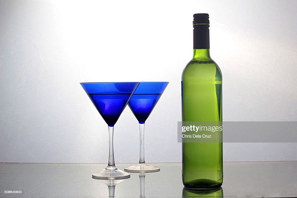 Wine Bottle with Two Blue Glasses : Stock Photo