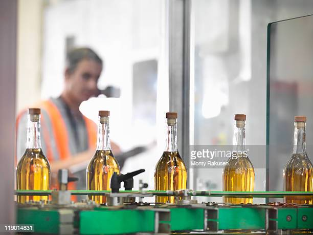 Wine bottles in bottling machine