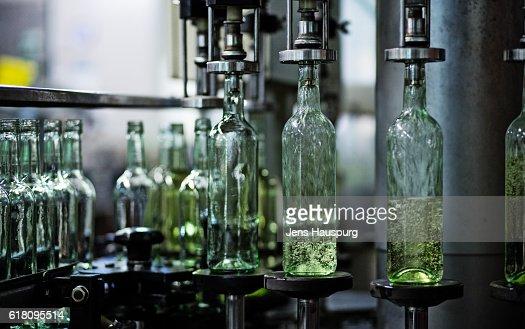 Wine bottles in bottling plant