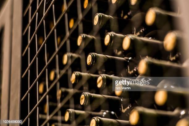 wine bottles in wine cellar, mendoza, argentina - ワインセラー ストックフォトと画像