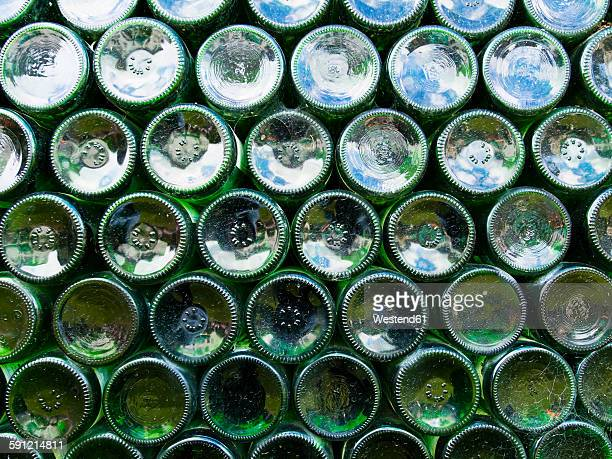 Wine bottles, stacked