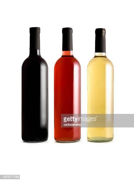 Botellas de vino con trazado de recorte
