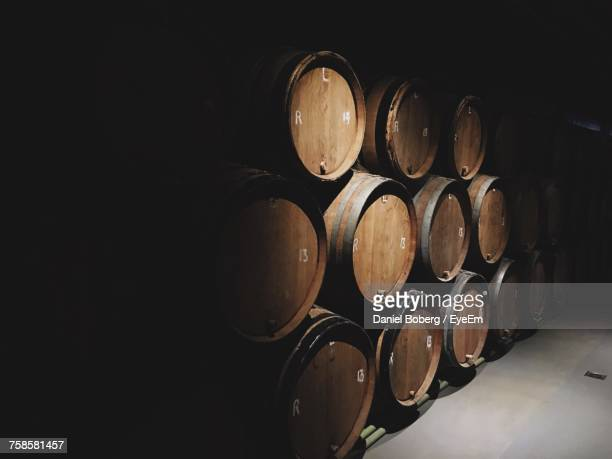 wine casks in cellar - viniculture stock pictures, royalty-free photos & images